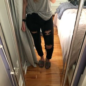 Stretchy black ripped jeans